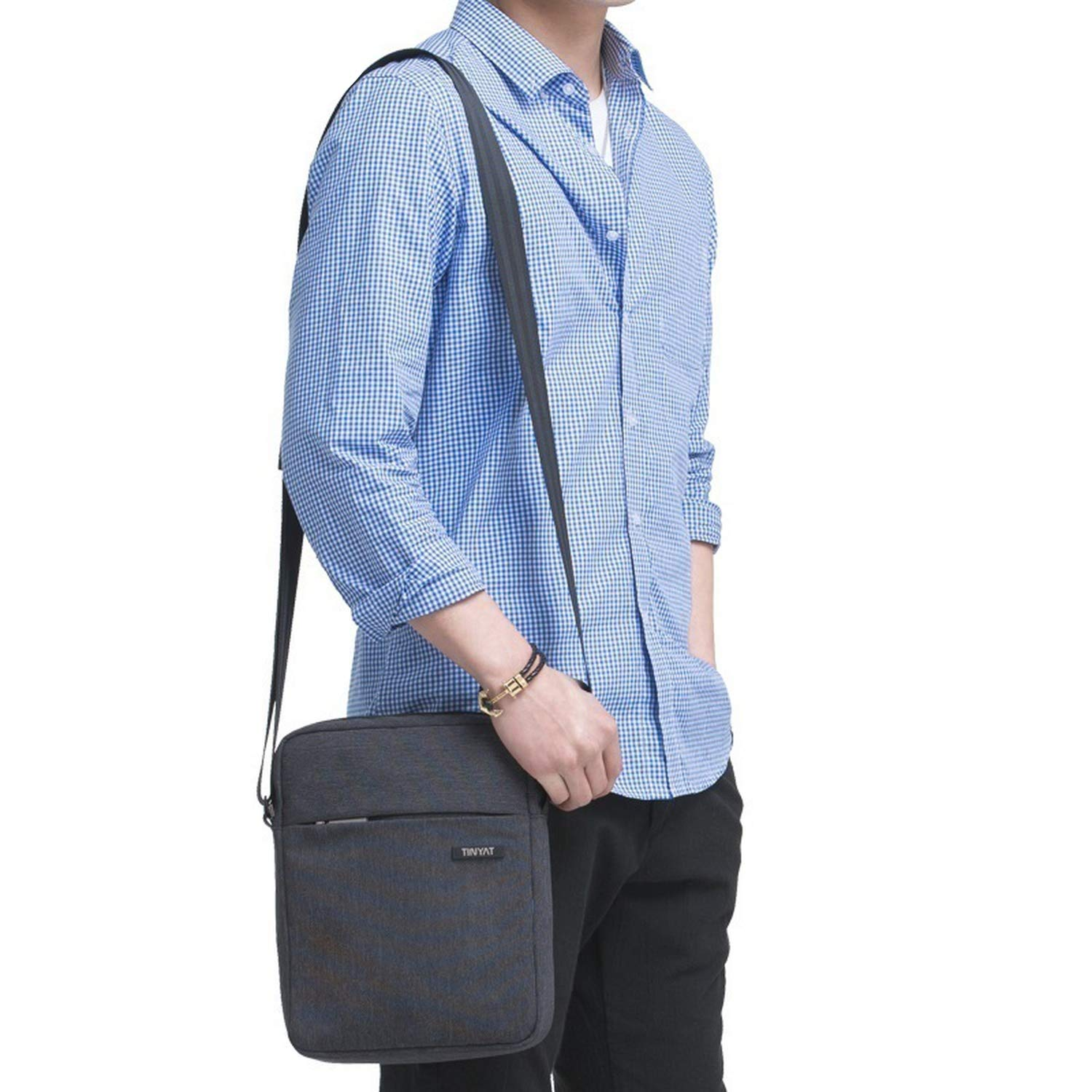 Shockproof MenS Crossbody Bag Pack Hidden Zipper Shoulder Bags For 9.7 Pad Male Canvas Bags
