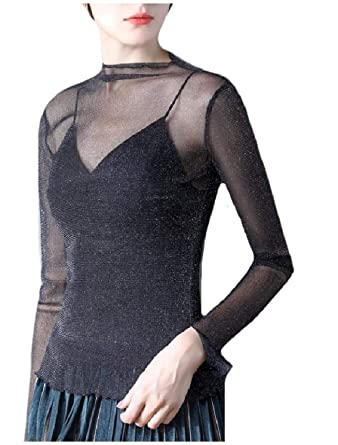 7b4a3986a4 XiaoShop Women Spring Summer Classy Sexy Gauze Base Layers Blouse Shirt at  Amazon Women's Clothing store:
