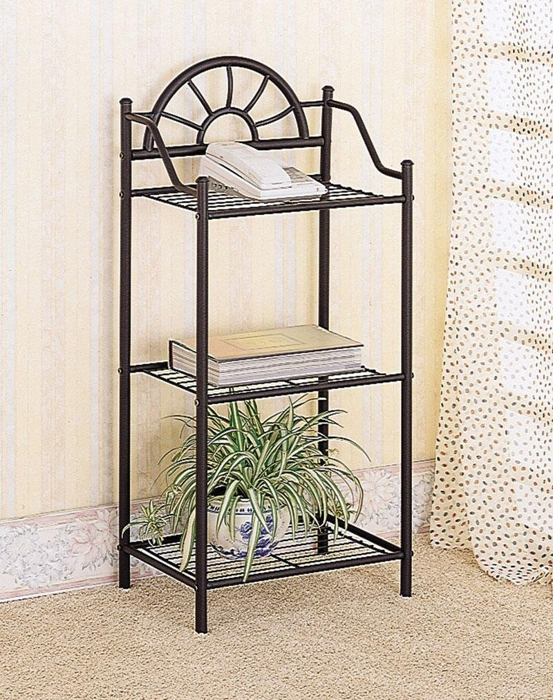 # 2429 3-Tier Traditional Sunburst Design Telephone Table Stand With Shelves In Sand... Coaster FBA_CO-2429