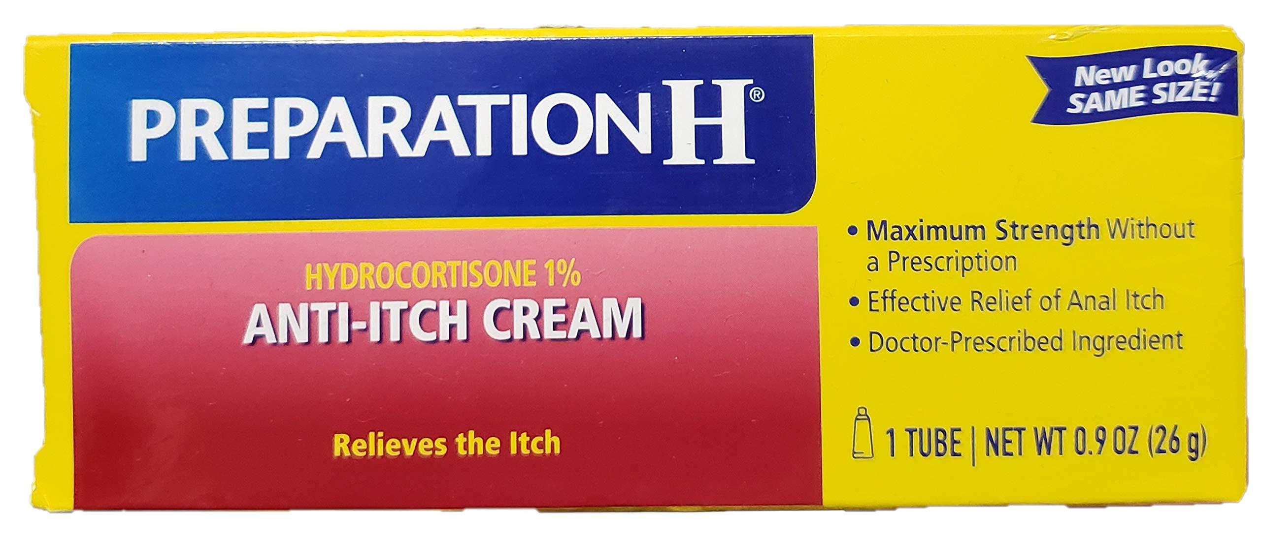 Preparation H Anti-Itch Cream Hydrocortisone 1% 0.90 oz (Pack of 4)