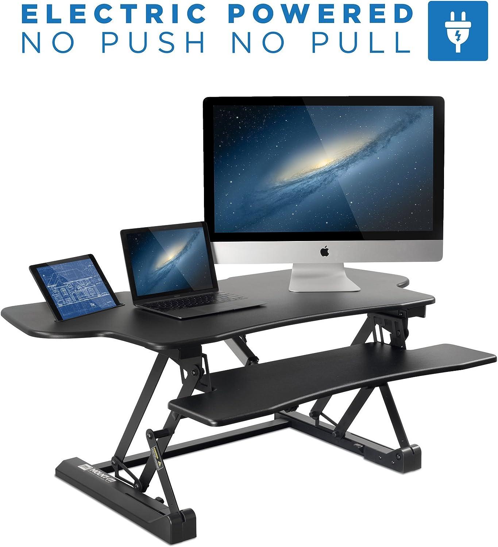 Mount-It Electric Standing Desk Converter, 48 Inch Extra Wide Motorized Sit Stand Desk with Built in USB Port, Ergonomic Height Adjustable Workstation, Black MI-7962