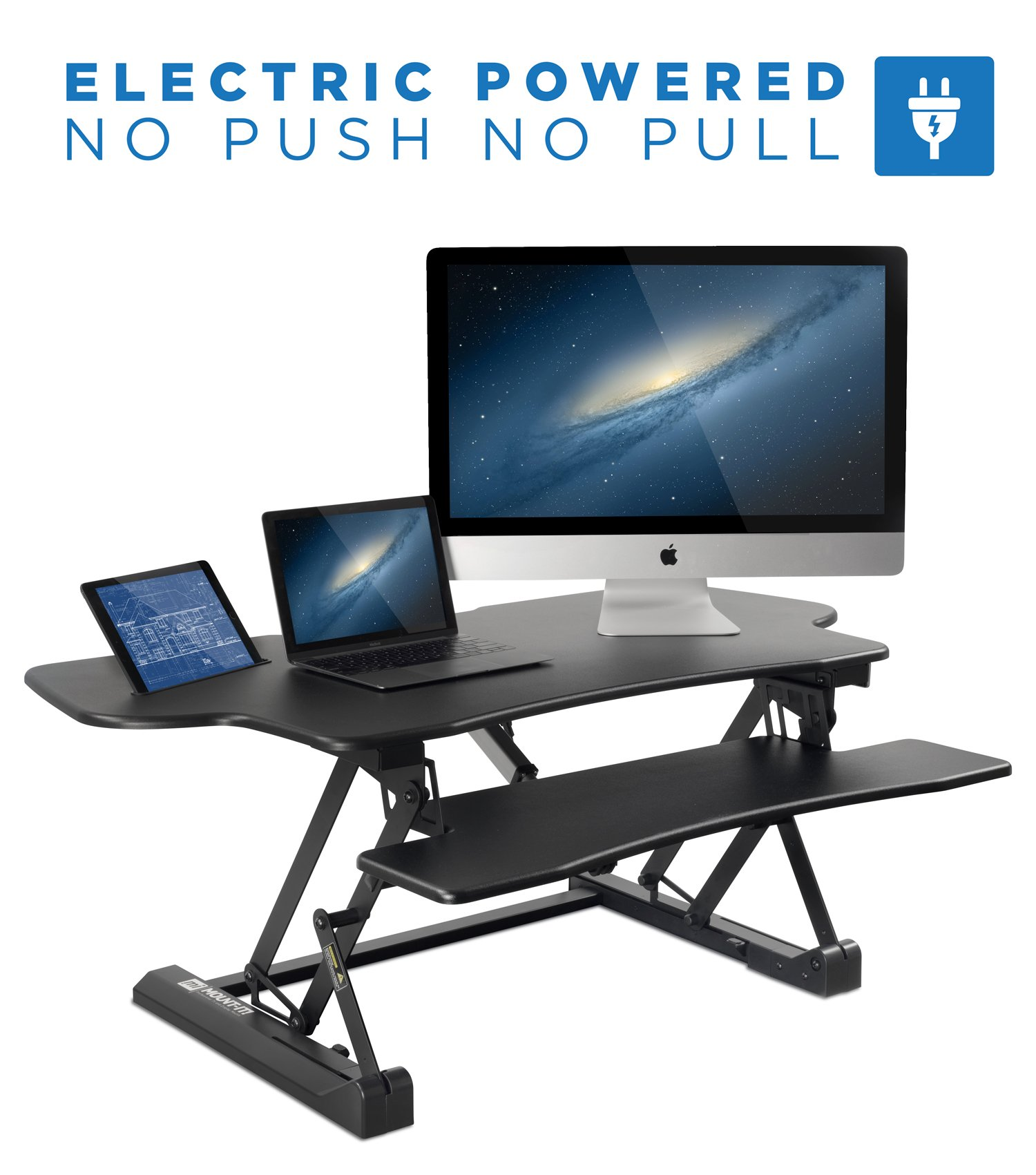 Mount-It! Electric Standing Desk Converter, 48 Inch Extra Wide Motorized Sit Stand Desk with Built in USB Port, Ergonomic Height Adjustable Workstation, Black (MI-7962) by Mount-It!