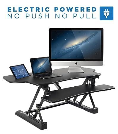 Mount-It Electric Standing Desk Converter, Motorized Sit Stand Desk with Built in USB Port, Ergonomic Height Adjustable Workstation, Black MI-7962
