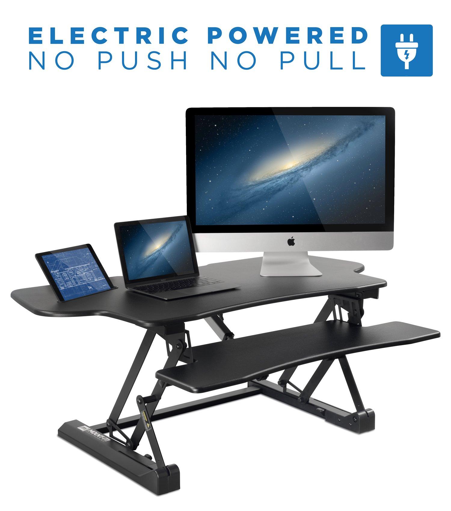 Mount-It! Electric Standing Desk Converter, 48'' Wide Motorized Sit Stand Workstation, Ergonomic Height Adjustable Tabletop Desk, Black