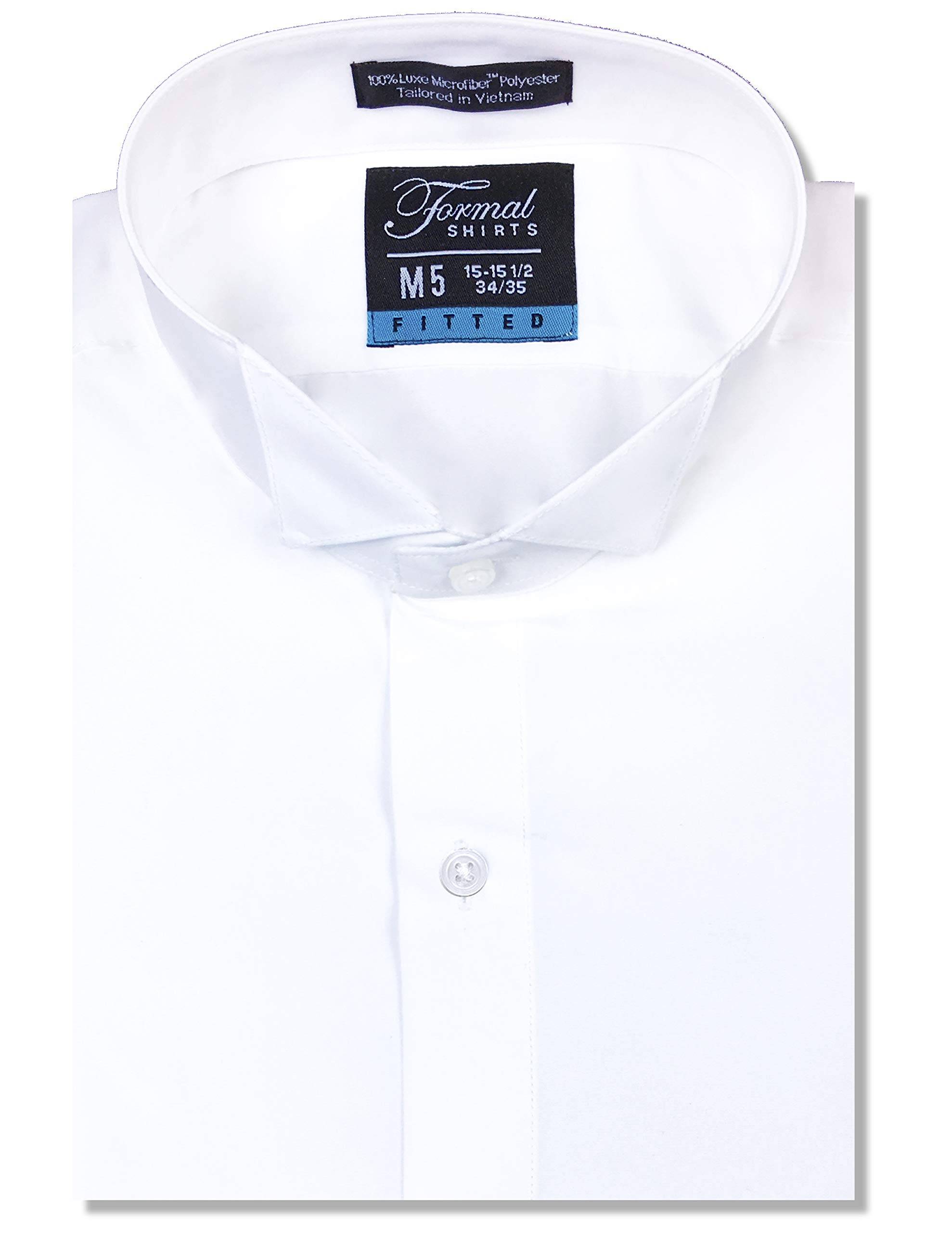 Luxe Microfiber Men's Fitted Wing Collar Convertible Cuff Tuxedo Shirt - Style Frankie White by Luxe Microfiber