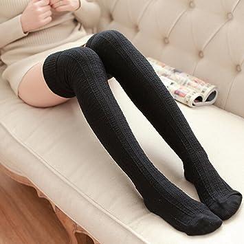 Pixnor Calcetines largos de algodón mujeres/damas estilo japonés sobre rodilla muslo medias negro
