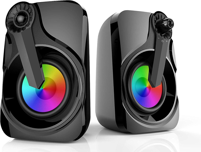 Soudbar, Maboo USB Powered Sound Bar Speakers for Computer Desktop Laptop PC, Black (Colorful Speakers)