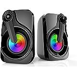 Computer Speakers, Maboo Soundbar USB Powered with LED Light for Computer Desktop Laptop PC, Smartphone, TV Black…