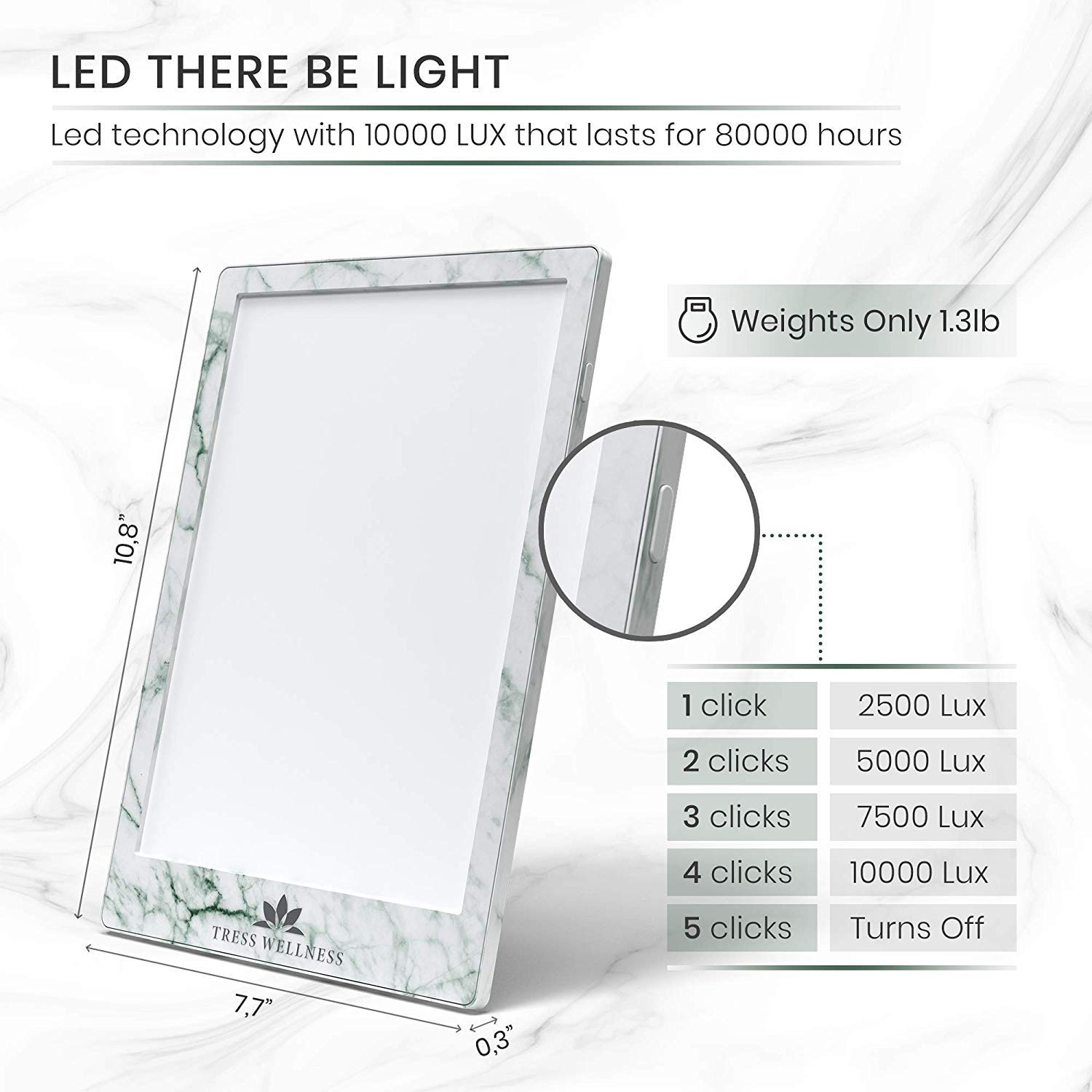 Light Therapy Lamp - 10000 LUX (4 Brightness Levels) - 2019 Slim Design - Sun Lamp - Sun Lamps - Light Box Therapy - Therapy Light by Tress Wellness (Image #3)
