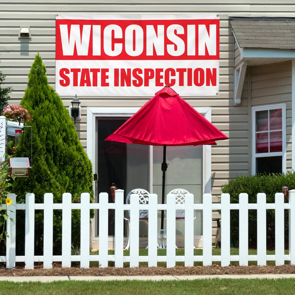 Vinyl Banner Sign Wisconsin State Inspection Business State Marketing Advertising White 24inx60in Set of 3 Multiple Sizes Available 4 Grommets