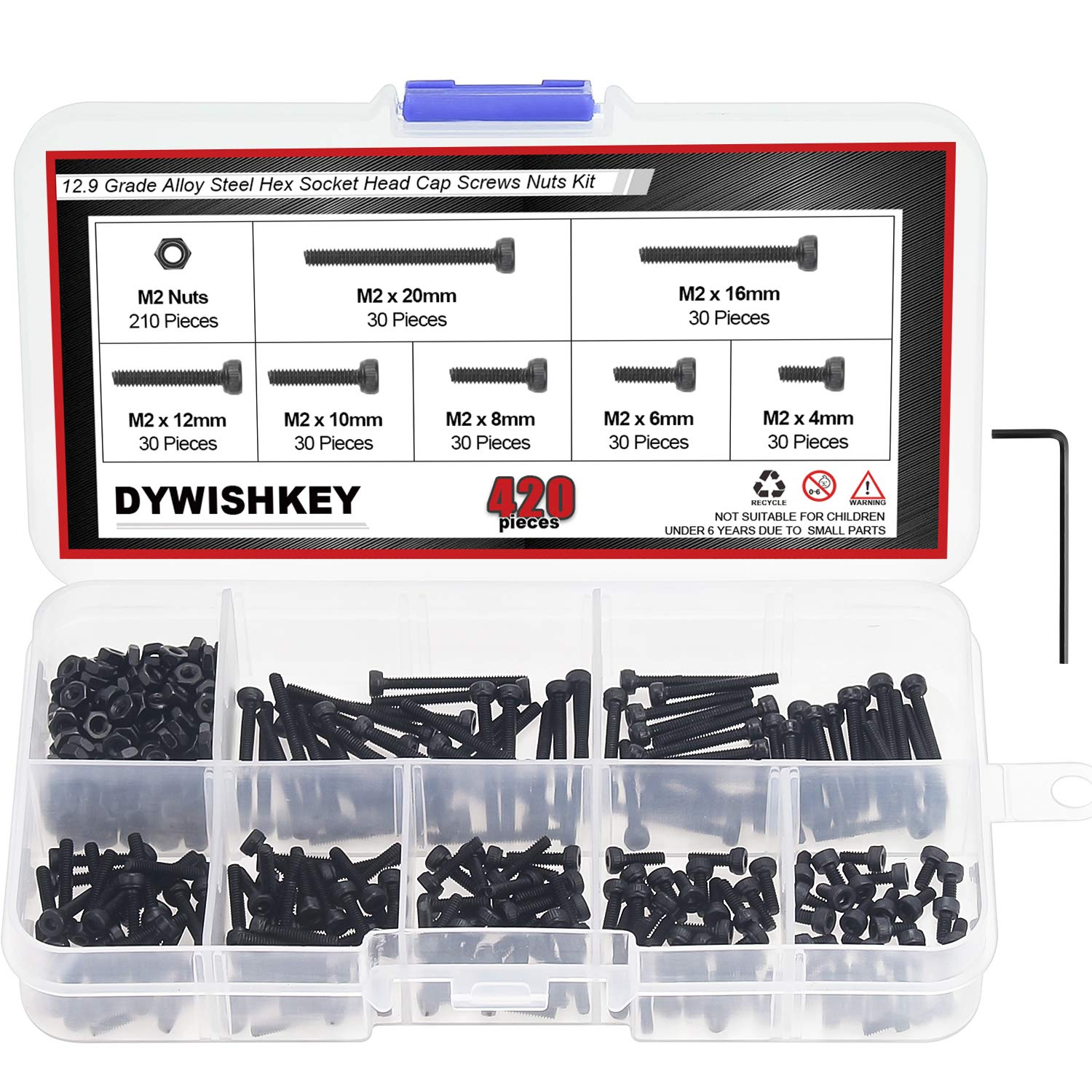 DYWISHKEY 420 Pieces M2 x 4mm/6mm/8mm/10mm/12mm/16mm/20mm, 12.9 Grade Alloy Steel Hex Socket Head Cap Bolts Screws Nuts Kit with Hex Wrench