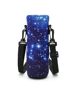 ICOLOR Water Bottle Carrier 18 Oz (500 ml) Neoprene Wine Tea Bottle Sleeve Holder Sling Insulated Outdoor Sports Camping Travel Cross-Body Shoulder Bag Case Pouch Cover