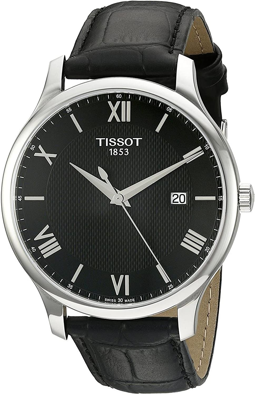 Tissot Men s Tradition Swiss Quartz Stainless Steel and Leather Dress Watch, Color Black Model T0636101605800