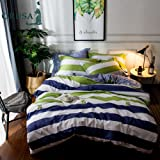 ORUSA Colorful Striped Duvet Cover Sets Twin 3 Piece Bedding Sets for Kids Boys Teens Adults with 2 Pillow Shams (Twin, Striped 1) 