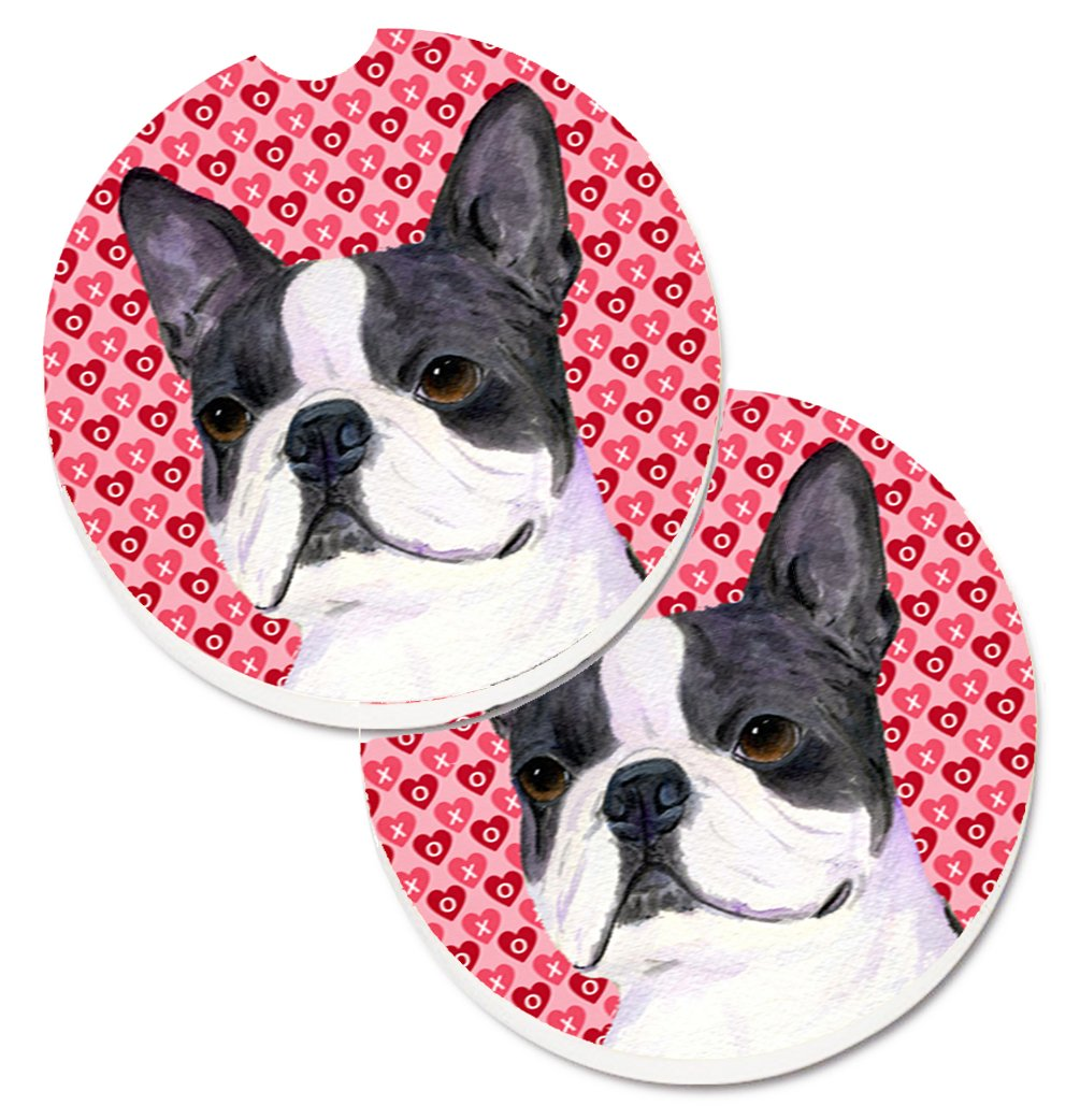 Carolines Treasures Boston Terrier Hearts Love Valentines Day Set of 2 Cup Holder Car Coasters SS4516CARC 2.56 Multicolor