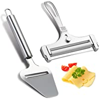 2 Pieces Stainless Steel Wire Cheese Slicer with Cheese Plane Tool, Adjustable Thickness Cheese Cutter for Soft, Semi-Hard, Hard Cheeses Kitchen Cooking Tool, Grey