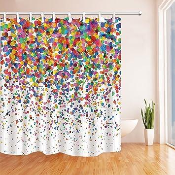 Rrfwq Watercolor Splashing Festival Decor Colorful Confetti Shower Curtain Mildew Resistant Polyester Fabric Bathroom Bath Curtains