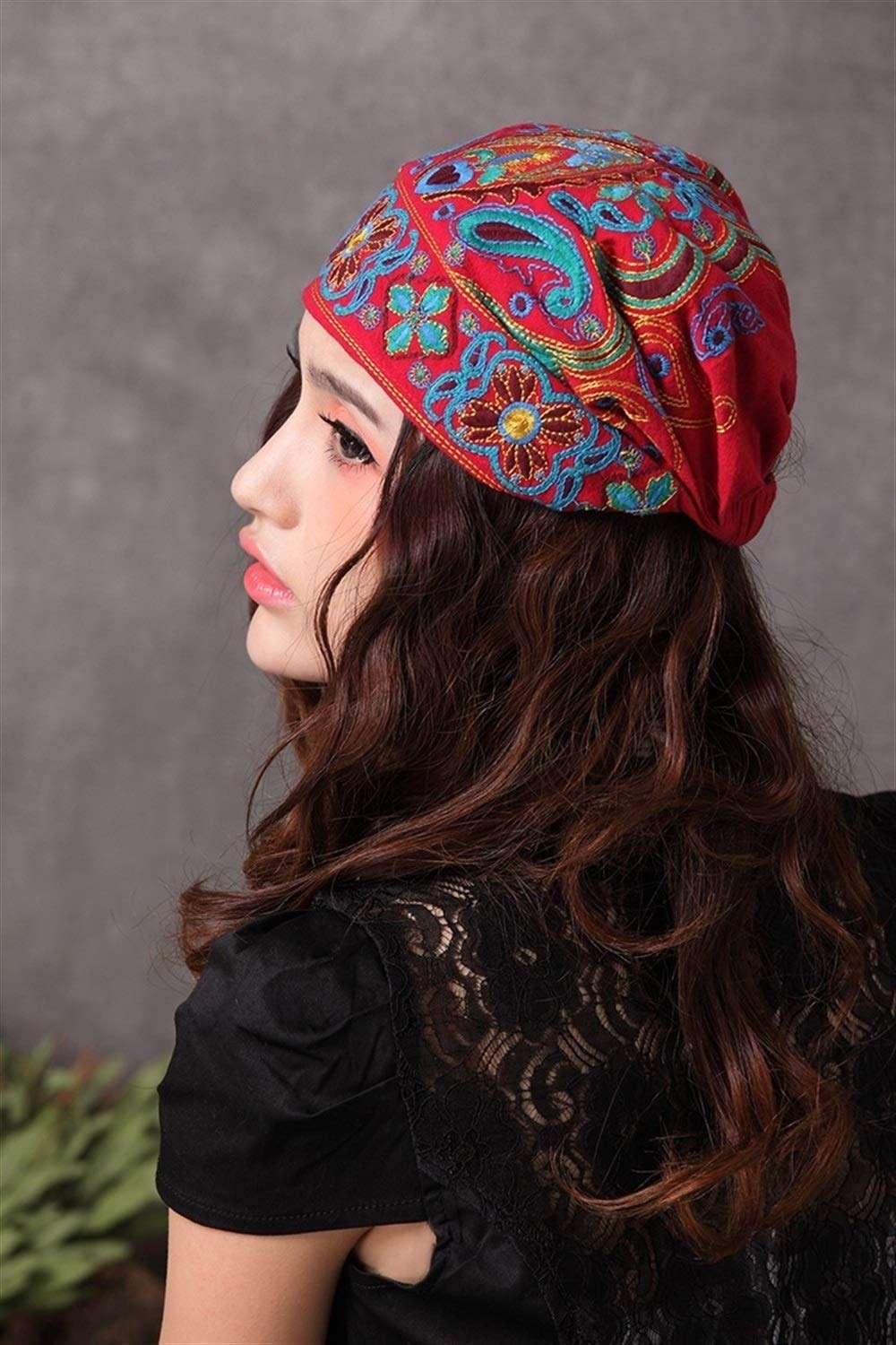 Mexican Style Spring And Autumn Ethnic Vintage Embroidery Flowers Bandanas Original Red Blue Print Hat Cat (Color : Red, Size : M) by ERNANGUA