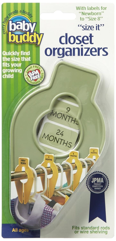 Baby Buddy Size-It Children/Baby Hanging Closet Organizer Dividers, Sage Compac Industries 02186S