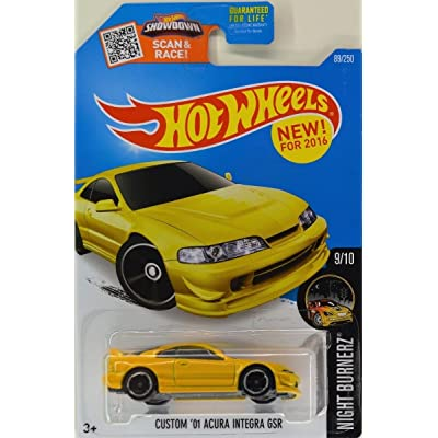 Hot Wheels 2016 Nightburnerz Custom '01 Acura Integra GSR 89/250, Yellow: Toys & Games