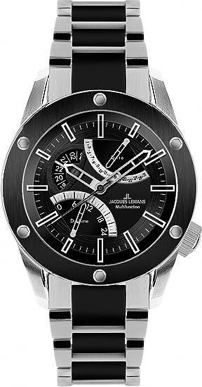 Jacques Lemans Liverpool GMT - Reloj analógico de caballero de cuarzo con correa de cerámica multicolor
