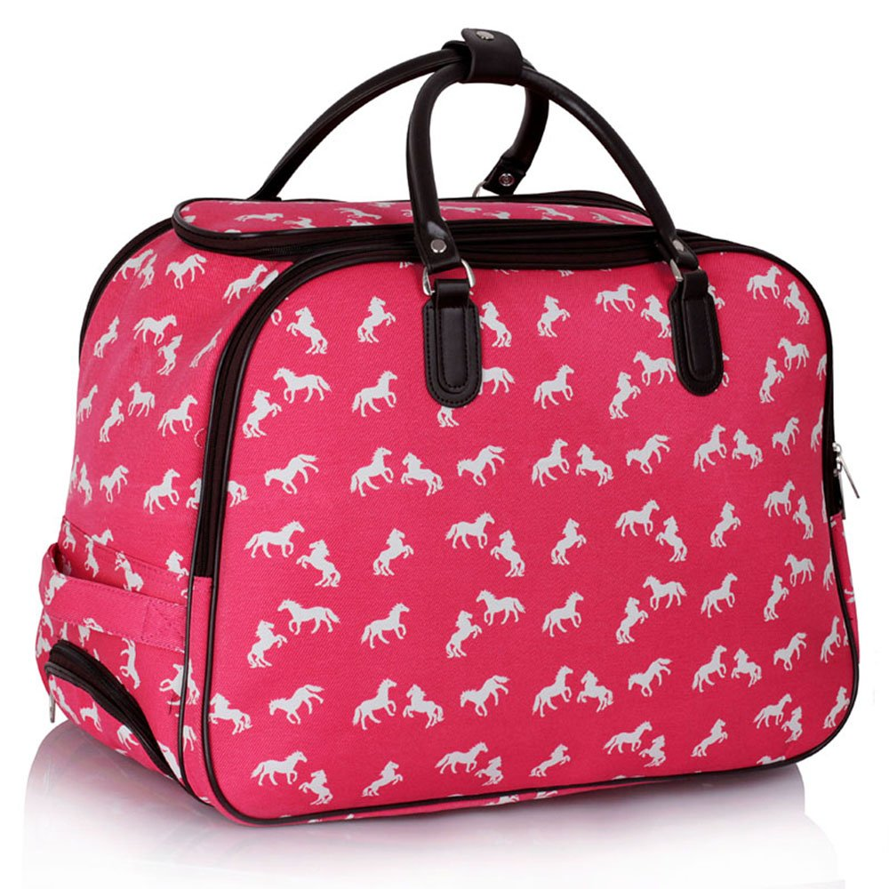 Ladies WHEELED HOLDALL Travel Luggage Bag Trolley Medium Large Dots CANVAS WOMEN