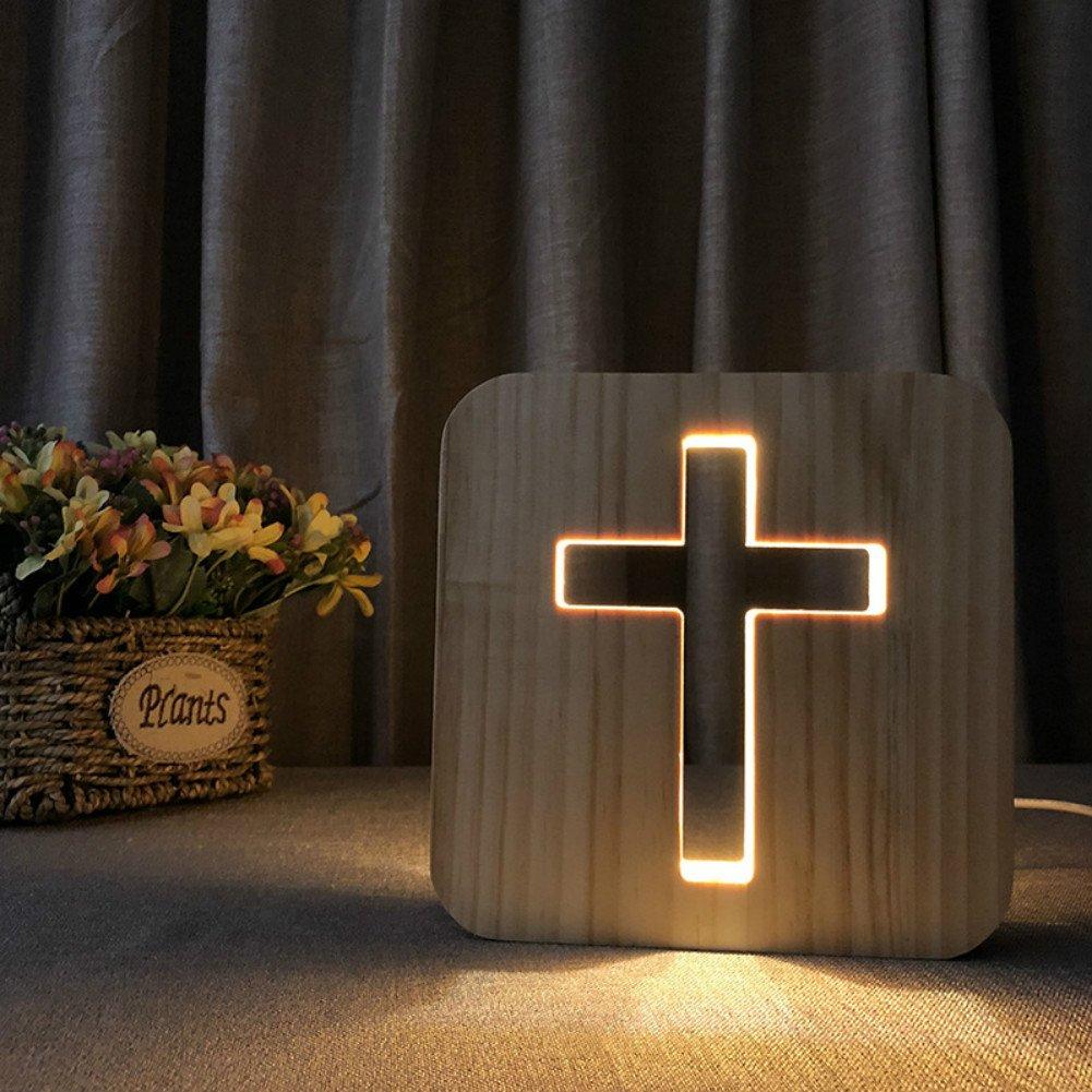 Cross 3D Lamp Cartoon Wooden Nightlight, LED Table Desk lamp USB Power Home Bedroom Decor Lamp, 3D Wood Carving Pattern LED Night Light Warm White