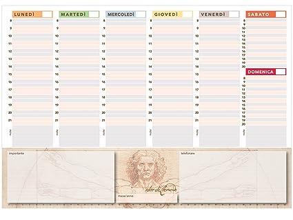 Organizador semanal de escritorio sin fechas, 42 x 30 cm, diseño de Hombre de Vitruvio
