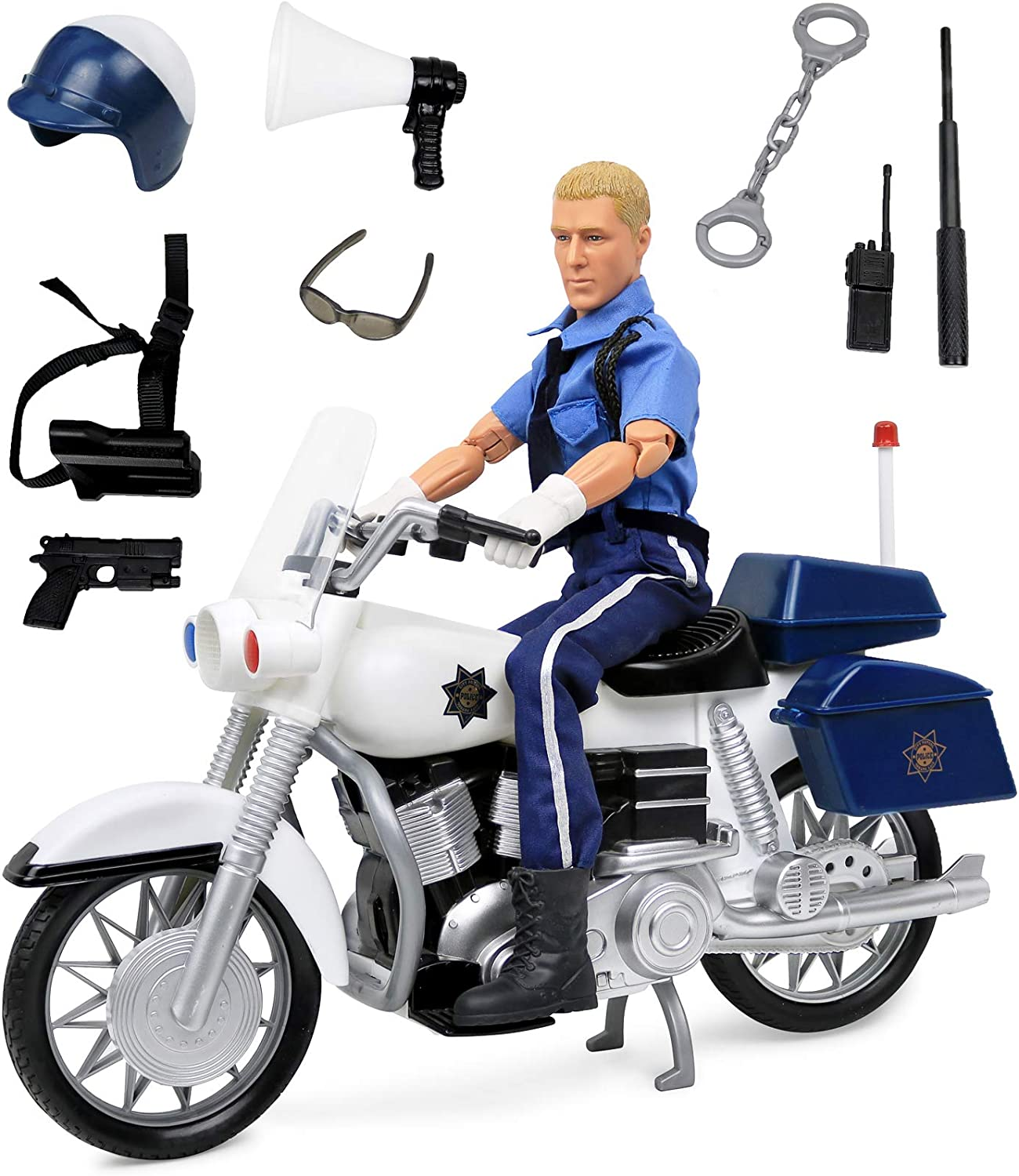 """Click N' Play Police On Motorcycle 12"""" Action Figure Play Set with Accessories"""
