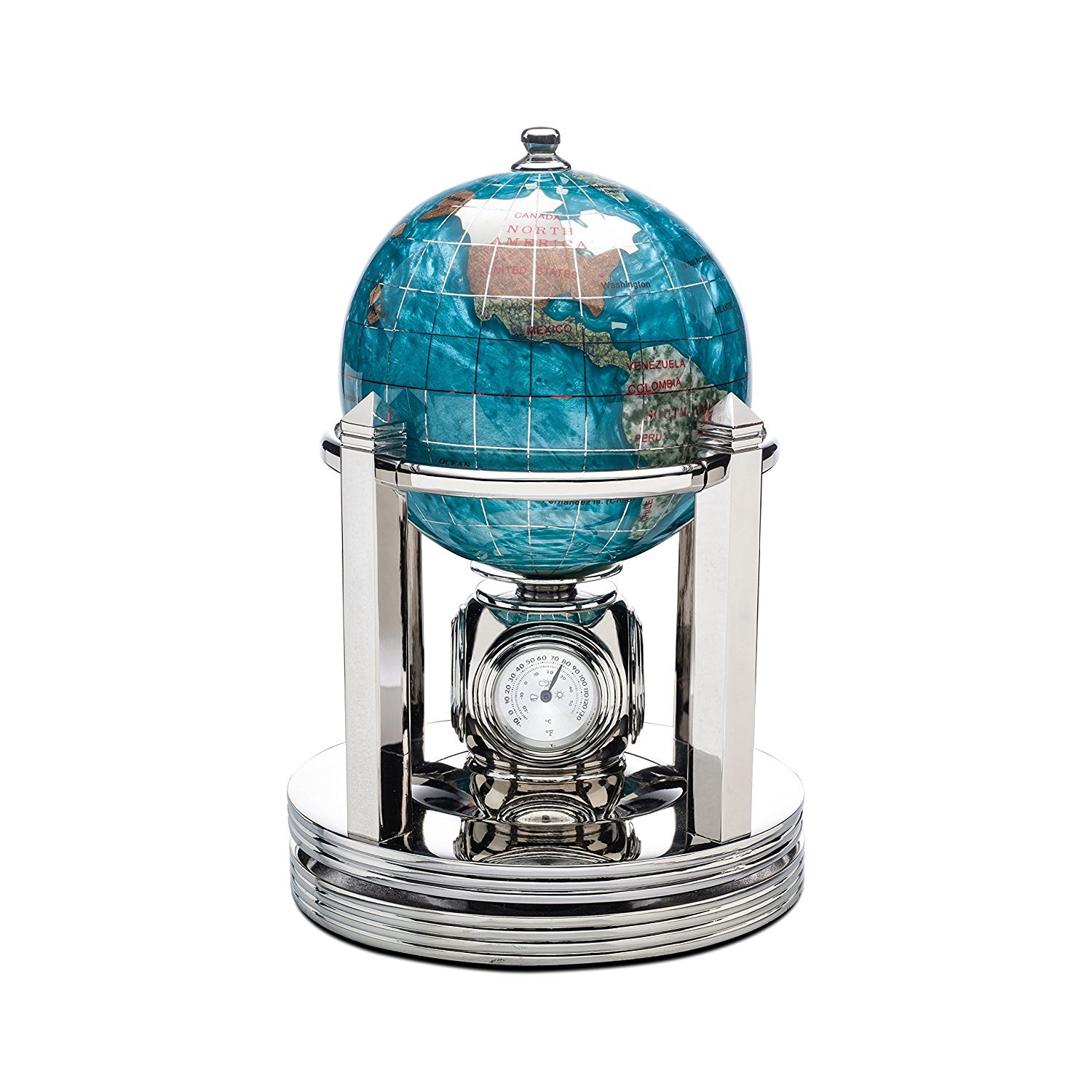 Gemstone Globe with Bahama Blue Opalite Ocean and Bright Silver Galleon Rotating Base by Alexander Kalifano: with clock, thermometers and hygrometer