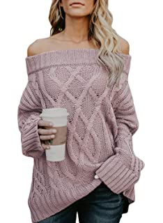 52751c0573 Astylish Women s Long Sleeve Off Shoulder Casual Loose Pullover Tops  Oversized Knitted Sweater Jumper Small Size