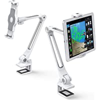 AboveTEK Sturdy iPad Holder, Aluminum Long Arm iPad Tablet Mount, 360° Swivel Tablet Stand & Phone Holder with Bracket…