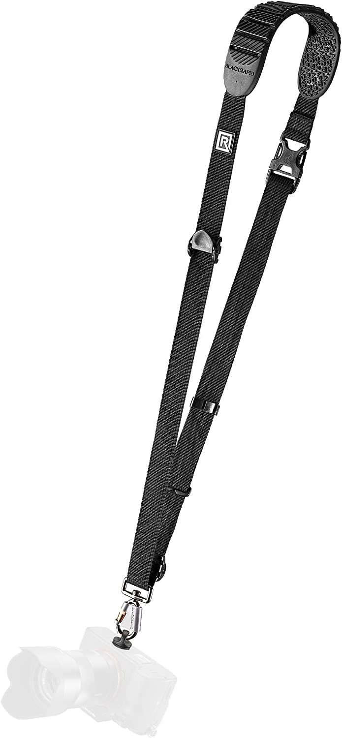 BlackRapid Cross Shot Camera Sling, Original Camera Sling Design, Strap for DSLR, SLR and Mirrorless Cameras - Black - with Straight Shoulder Pad for Right-Handed and Left-Handed Photographers