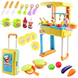 deAO Kitchen Little Chef Set in Convertible Suitcase Portable Playset Carrycase with Sound - Lights and Accessories Included (Blue)