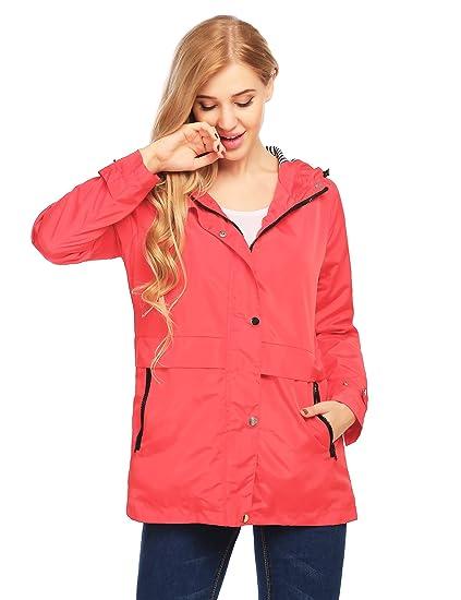 82dfda6479 Finejo Womens Long Sleeve Winter Windbreaker Coat Zip up Anorak Jacket with  Hood