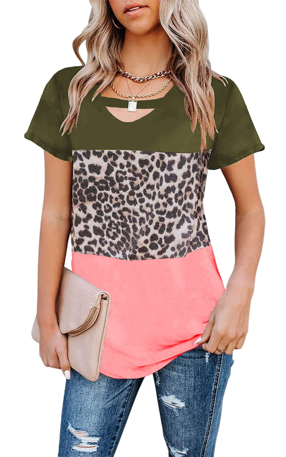 Sovelen Womens Color Block Leopard Print Short Sleeve T Shirts Scoop Neck
