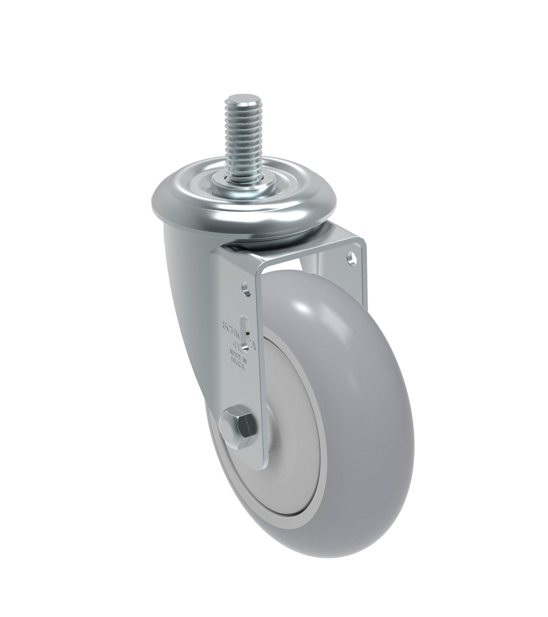 Schioppa GLEHF 412 SPE - Flat Tread L12 Series 4'' x 1-1/4'' Diameter Swivel Caster, Non-Marking Extra Soft Thermoplastic Rubber Precision Ball Bearing Wheel, 12 mm Diameter x 40 mm Length Threaded Stem, 185 lb
