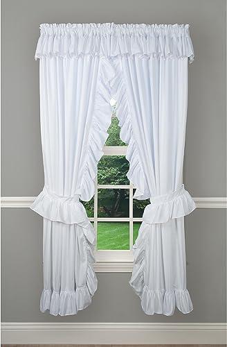 Editors' Choice: Priscilla Classic Rod Pocket Curtain Panel Pair White