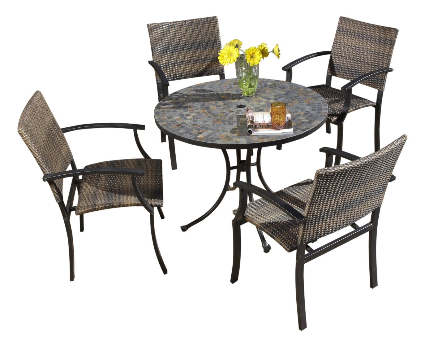 Home Styles Stone Harbor Black Five-piece Outdoor Dining Set with Table, Four Newport Arm Chairs, Stone Table Top, Umbrella Hole, and Synthetic Weave Seats