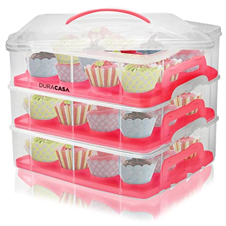 Amazoncom DuraCasa Cupcake Carrier Cupcake Holder Store up to