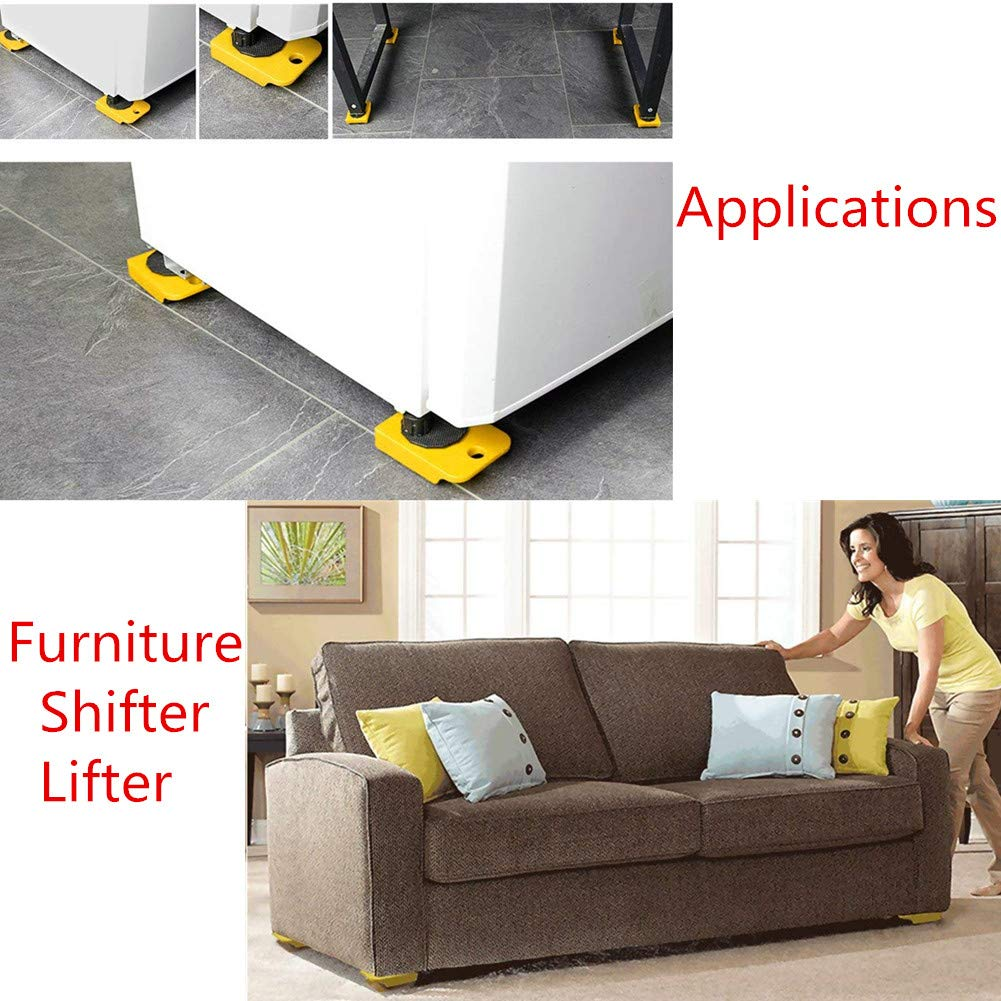 Wefond 1 Set Furniture Lifter Durable Heavy Appliance Furniture Lifting and Moving Tool Set for Heavy Furniture & Appliance Lifting, 1 Lifting Rod and 4 Furniture Moving Rollers (Yellow) by Wefond (Image #4)