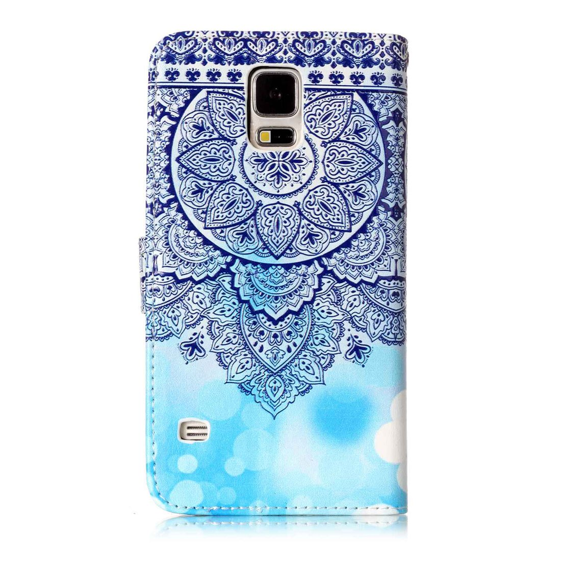 For Samsung Galaxy S5 Case with Card Slot,OYIME Colorful Painting Pattern Marble Mandala Relief Design Bookstyle Leather Wallet Holster Kickstand Function Full Body Protection Bumper Magnetic Closure Flip Cover with Wrist Lanyard and Screen Protector