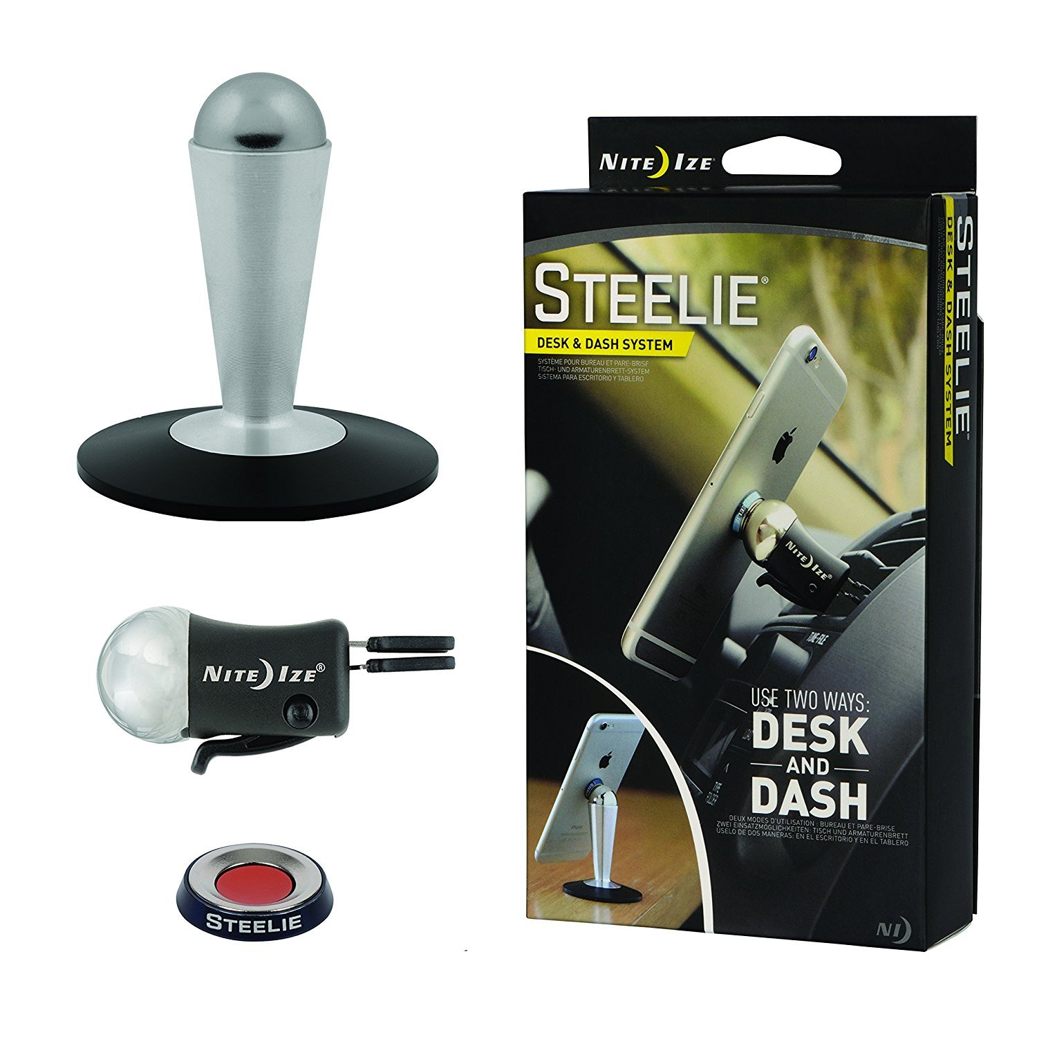 Nite Ize Original Steelie Desk and Dash System - Magnetic Smartphone Mounting System for Your Car Vent and Workspace
