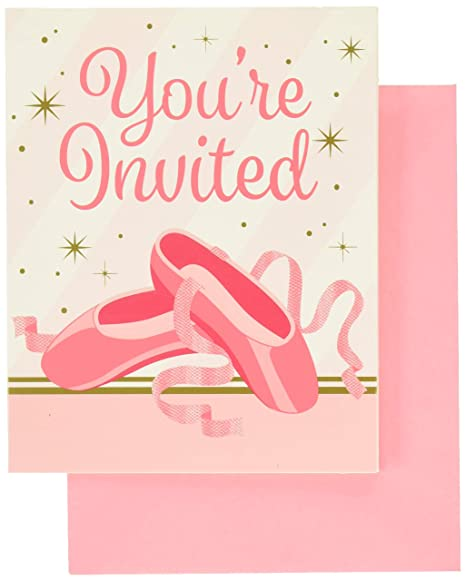 Creative Converting Twinkle Toes 8 Count Party Invitations