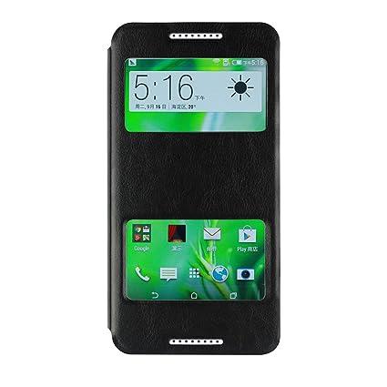 new styles 7cc03 7d15a HTC Desire 820G Plus Flip Case, Ziaon(TM) Vintage Series Leather Flip Cover  Stand Double Window Case for HTC Desire 820G Plus - Black (Free Screen ...