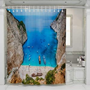 BEISISS Shipwreck Shower Curtain,Shipwreck in The Famous Navagio Bay Zakynthos Island Greece,Perfect for Bathroom Decor with Hooks