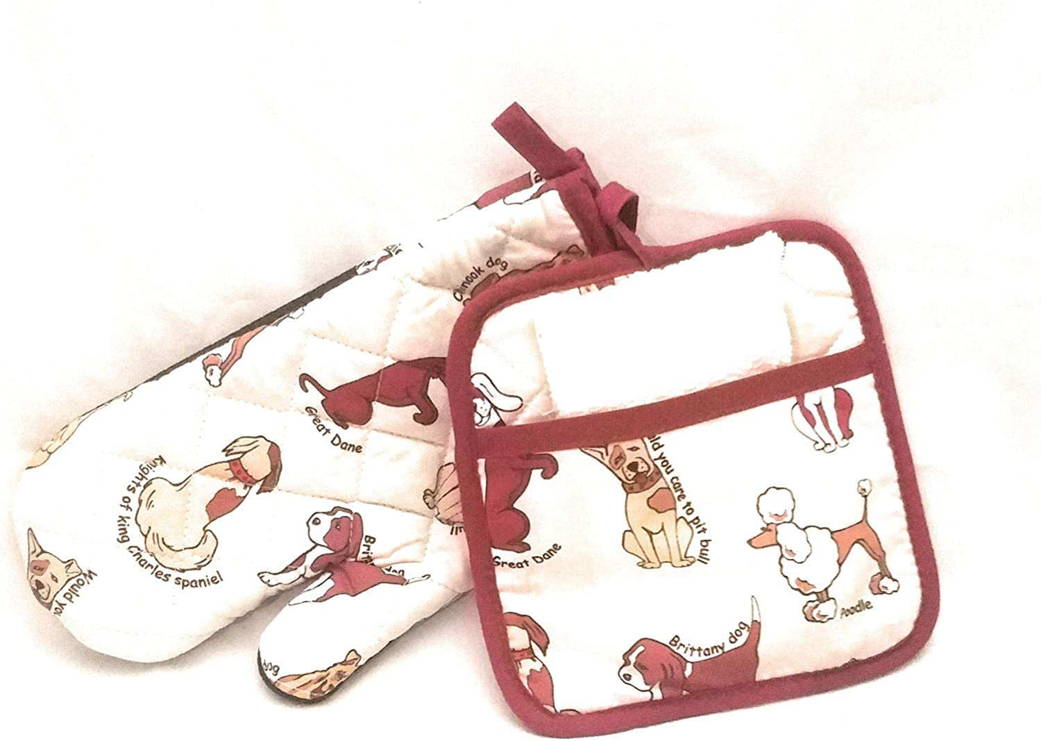 HnB Multi Breed Dogs Oven Mitt Pot Holders Plus Dishcloth Great Dane Spaniel Chinook Brittany Pitbull Poodle