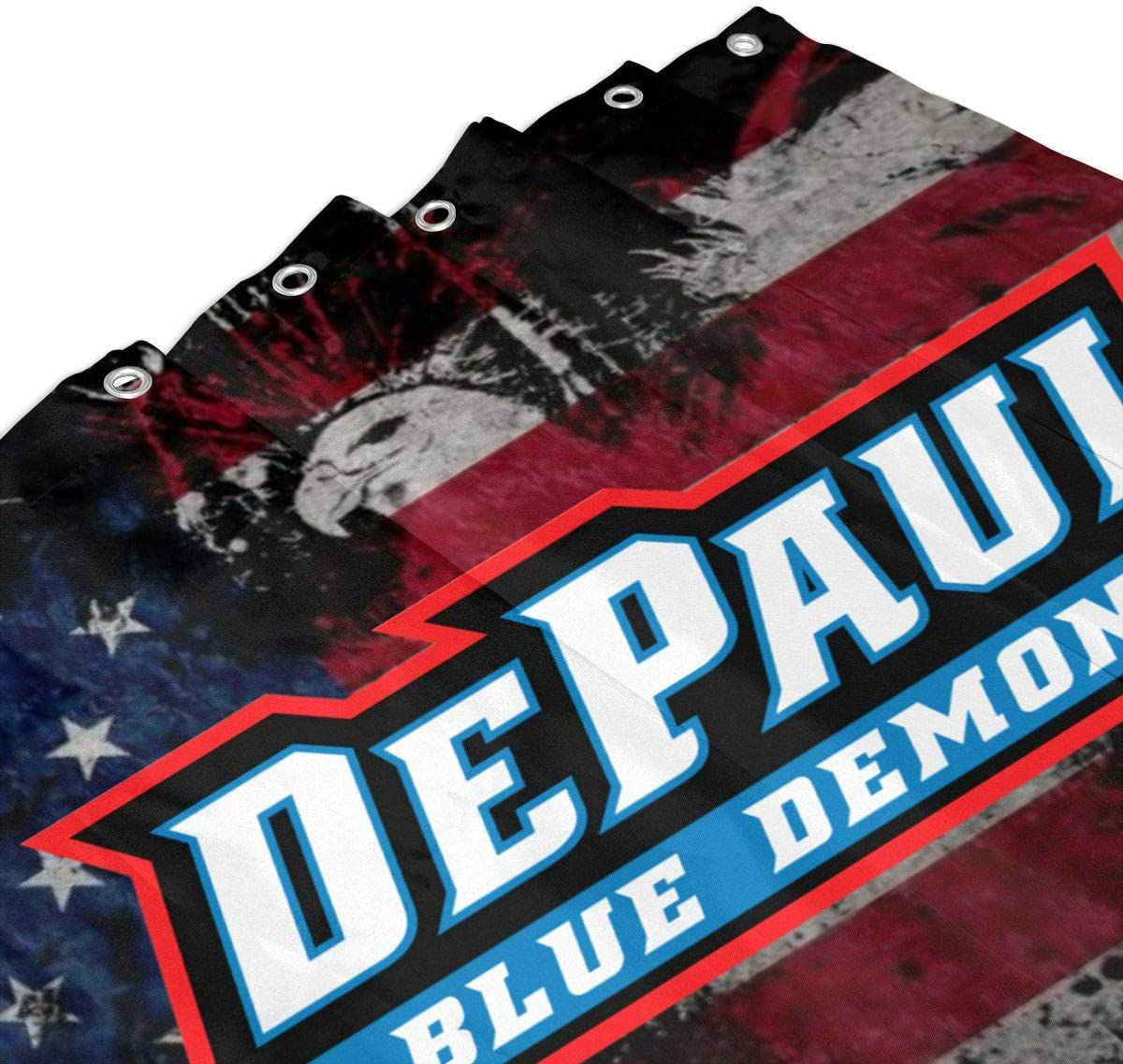 Littlearth DePaul Blue Demons Shower Curtain Waterproof Outdoor Bathroom Curtain Football Logo Curtain Set 60x72in