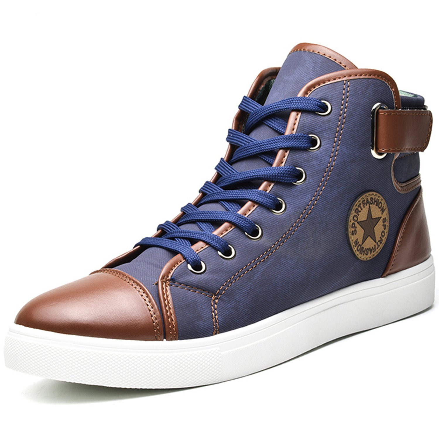 Jacky's Sapatos Tenis Masculino Male Autumn Winter Front Lace-Up Leather Ankle Boots Shoes Man Casual High Top Canvas Men (9, Blue)