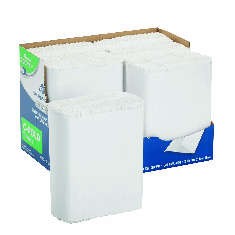 Georgia-Pacific Professional Series Premium 1-Ply C-Fold Paper Towels by GP PRO (Georgia-Pacific), White, 2112014, 200 Towels Per Pack, 6 Packs Per Case